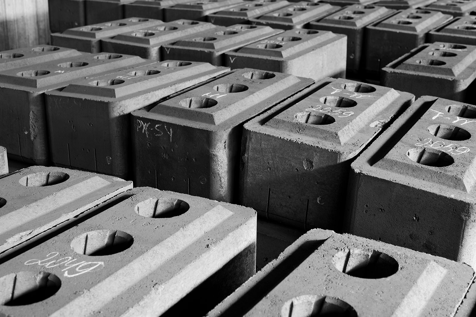 Background image of concrete bricks set for shipping at factory, copy space